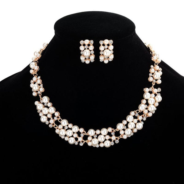 Geometric E-Plating Necklace Prom Jewelry Sets