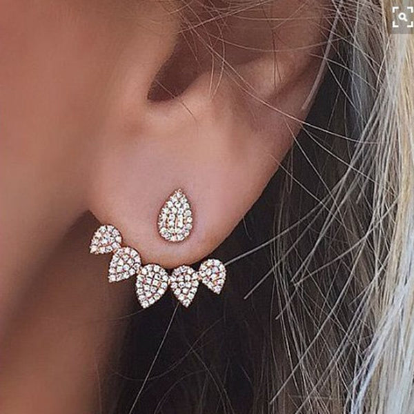 Alloy Water Drop Diamante Engagement Earrings