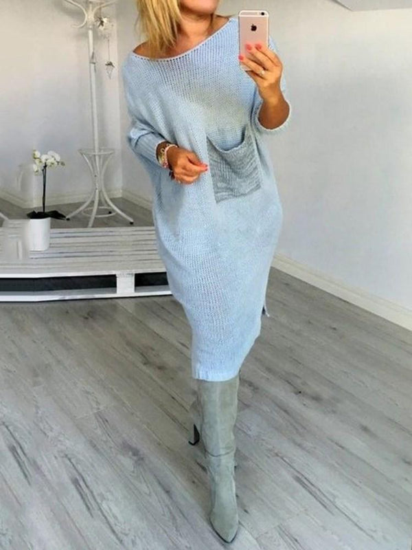 Mid-Calf Pocket Round Neck A-Line Pullover Dress