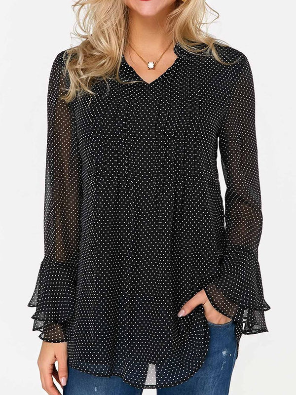 Print V-Neck Color Block Mid-Length Long Sleeve Blouse