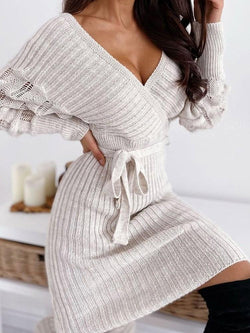 Long Sleeve V-Neck Above Knee Casual Bodycon Dress
