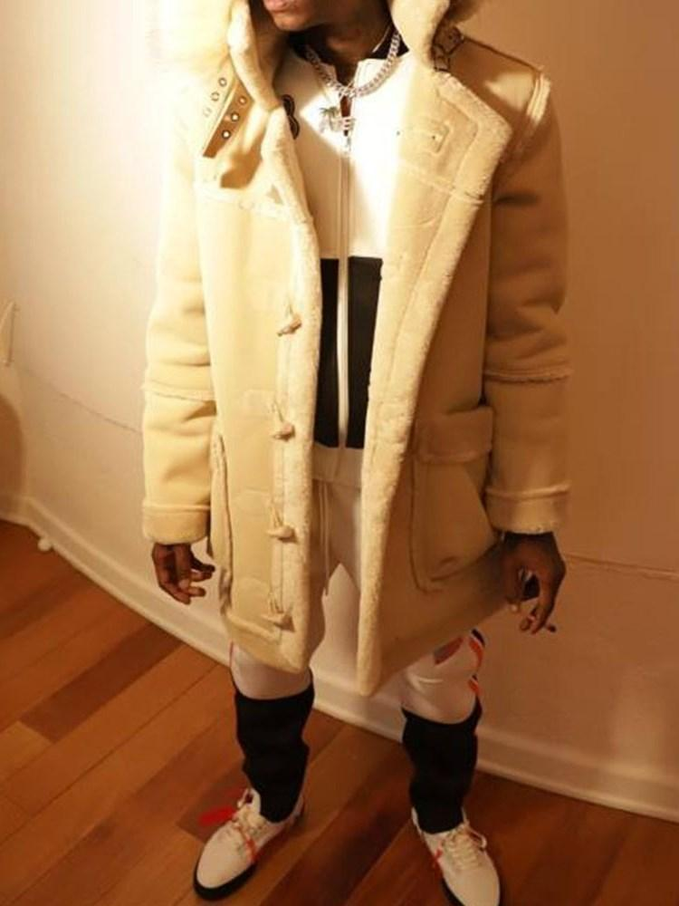 Hooded Mid-Length Patchwork Casual A Line Coat