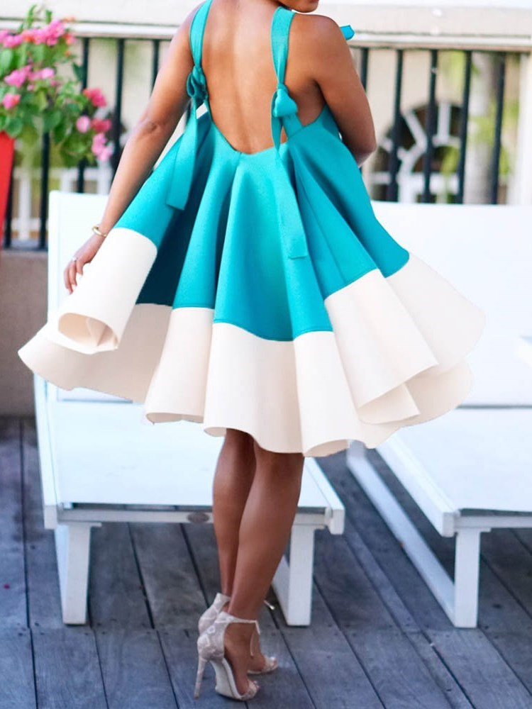 Patchwork Knee-Length Sleeveless Color Block Pullover Dress