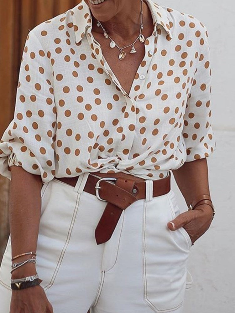 Print Polka Dots Lapel Mid-Length Long Sleeve Blouse