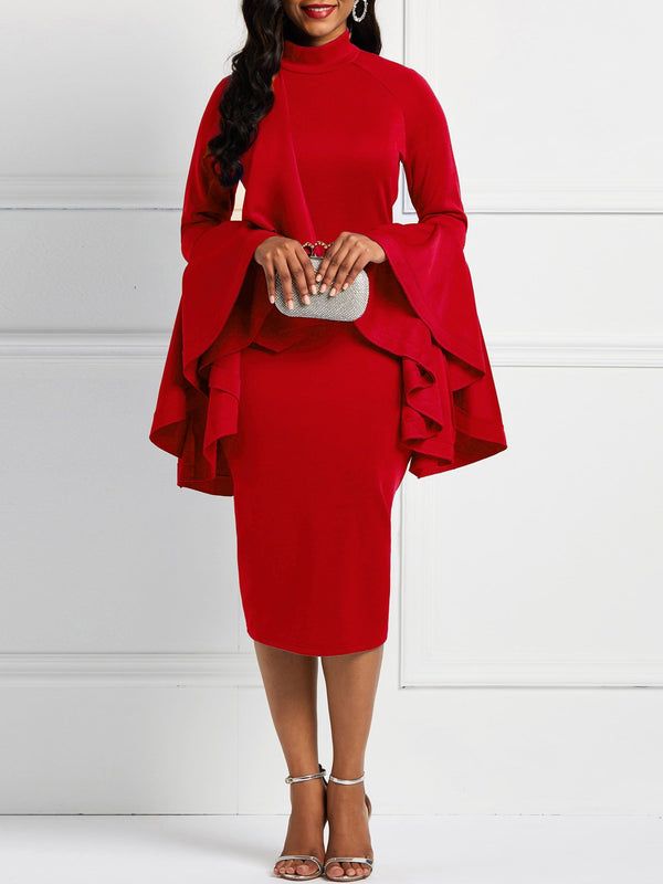 Mid-Calf Falbala Long Sleeve Flare Sleeve Standard-Waist Dress