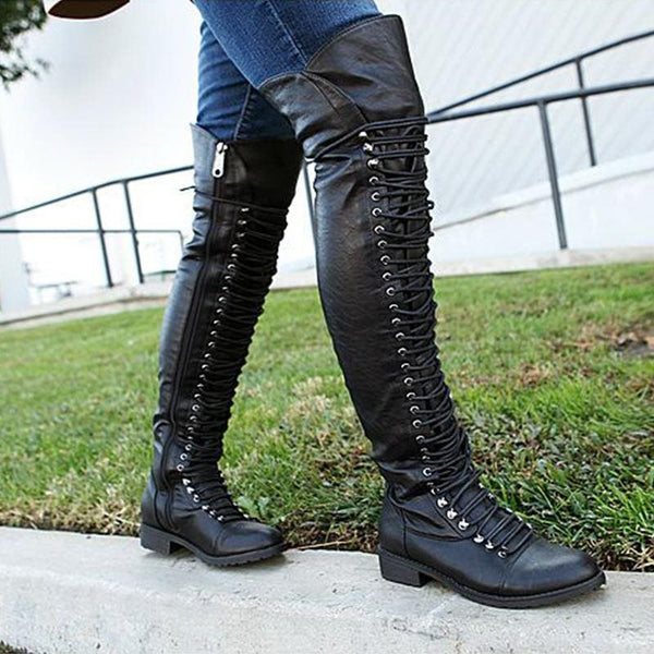 Block Heel Plain Side Zipper Round Toe Casual Cross Strap Boots