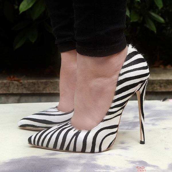 Stiletto Heel Pointed Toe Slip-On Zebra Banquet Thin Shoes