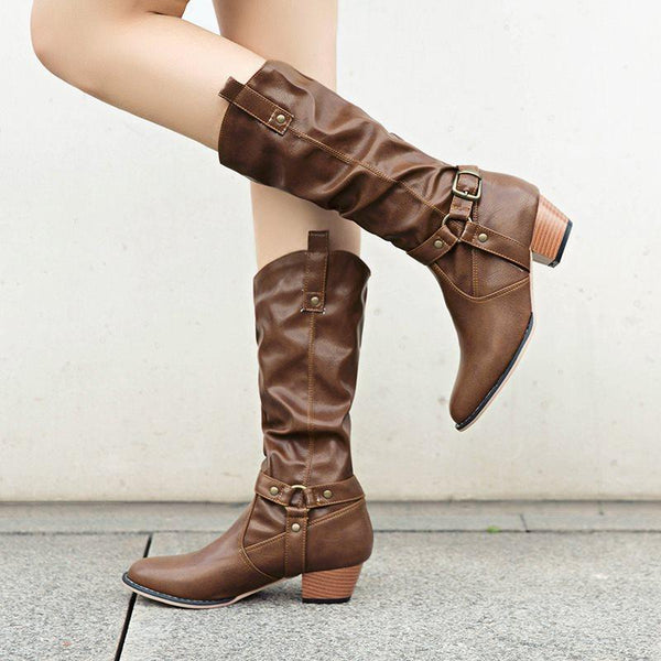 Plain Chunky Heel Round Toe Slip-On Buckle Casual Boots