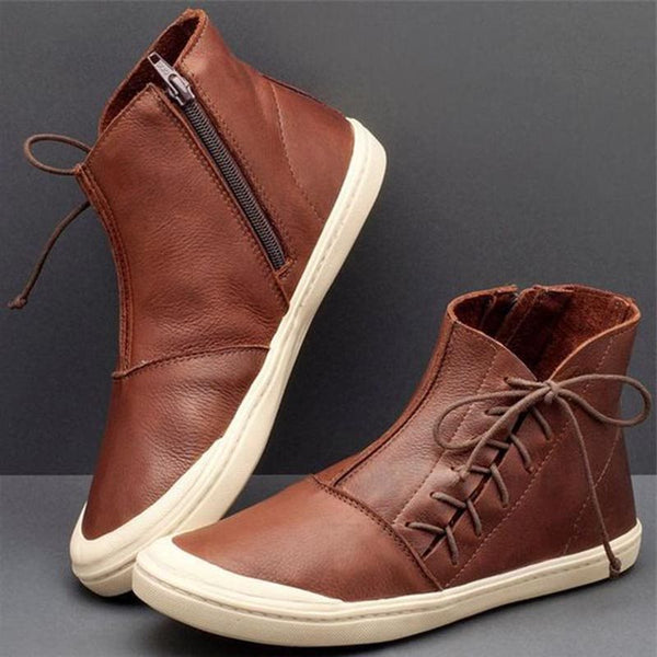 Plain Side Zipper Round Toe Casual Thread Boots