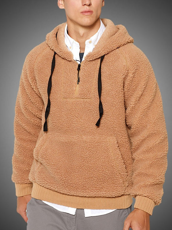 Plain Thick Pocket Casual Pullover Hoodies
