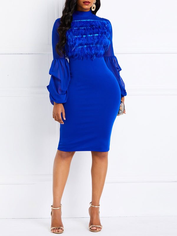 Knee-Length Long Sleeve See-Through Bodycon Pullover Dress