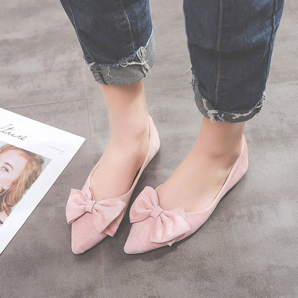 Block Heel Slip-On Bow Pointed Toe Casual Low Heel Thin Shoes