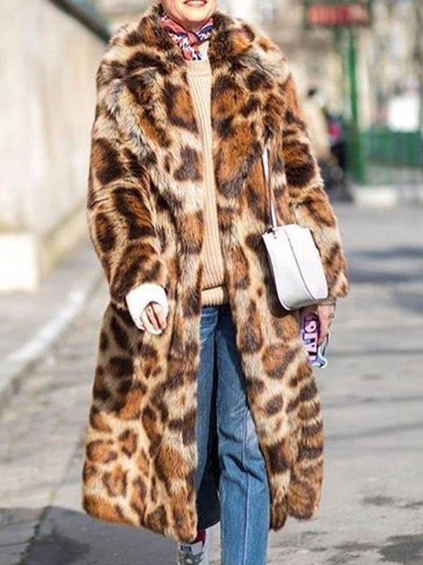 Mid-Length Color Block Lapel Loose Thick Faux Fur Overcoat