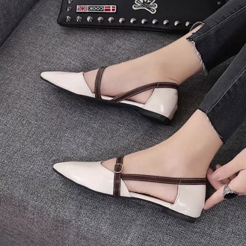Buckle Pointed Toe Block Heel Slip-On Plain Low-Cut Upper Thin Shoes