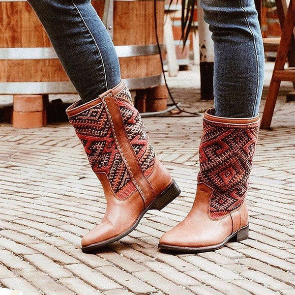 Round Toe Slip-On Patchwork Casual Thread Boots