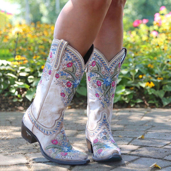 Pointed Toe Slip-On Floral Block Heel Casual Rhinestone Boots