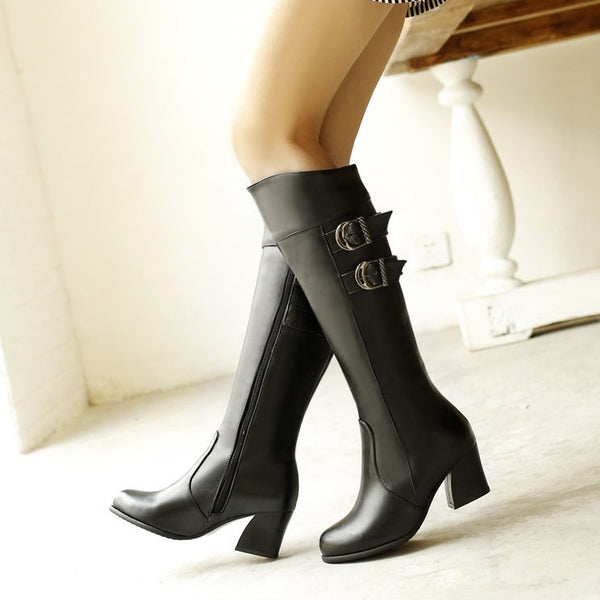 Round Toe Plain Lace-Up Front Block Heel PU Banquet Boots