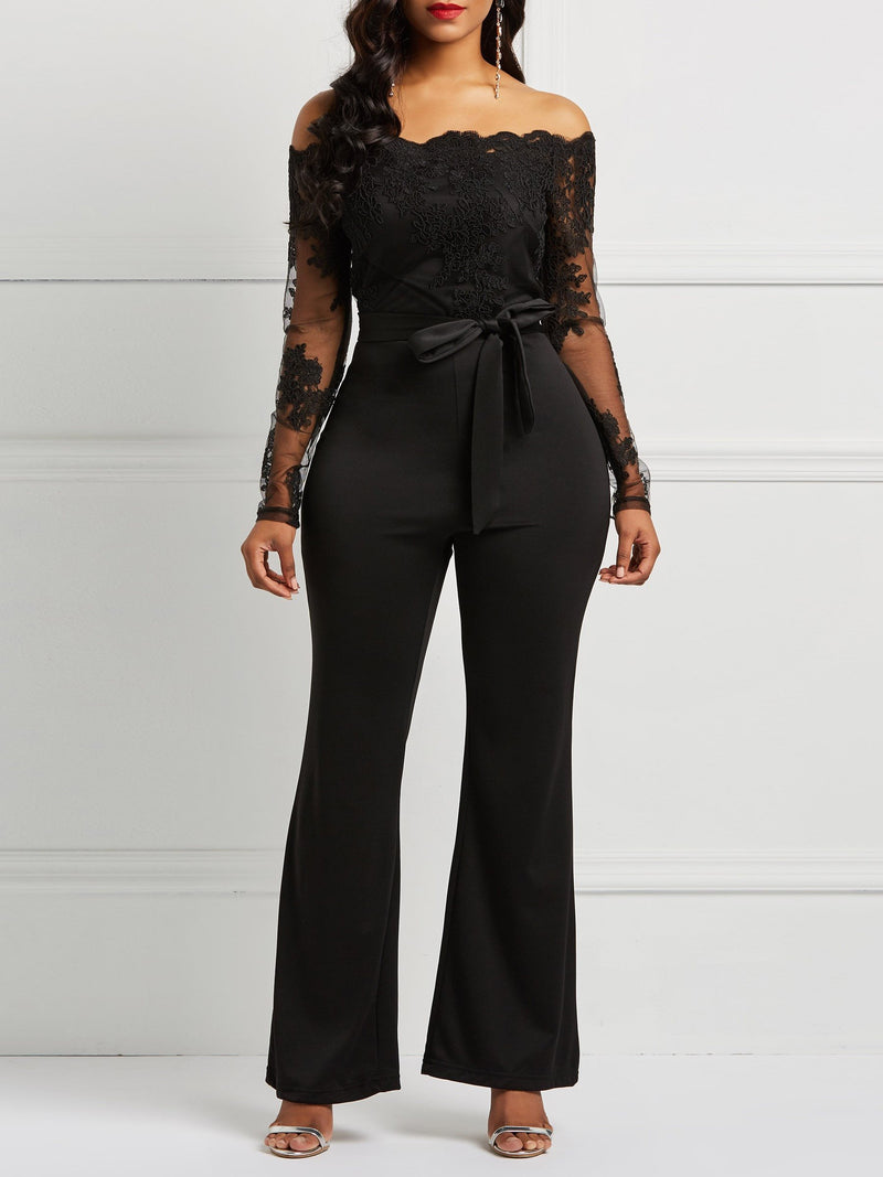 Casual Full Length Lace Slim Wide Legs Jumpsuit