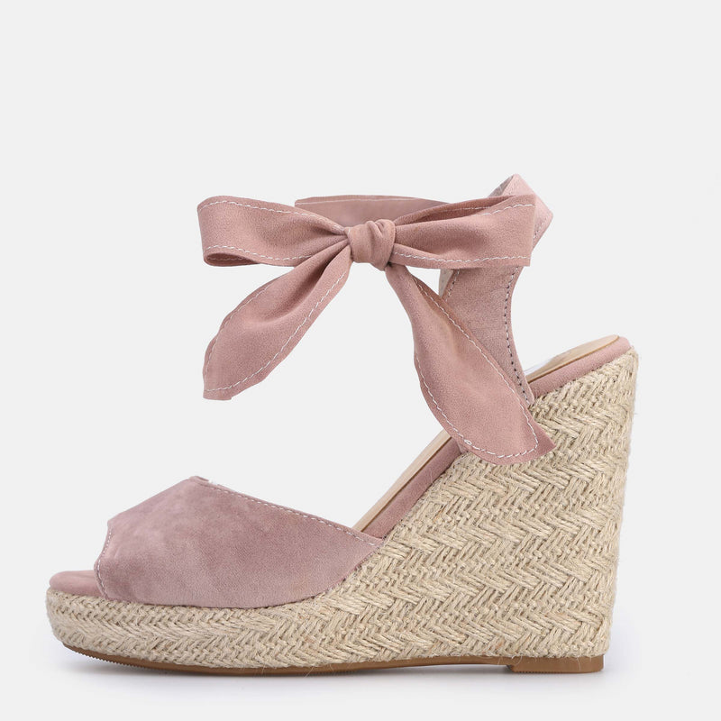 Open Toe Heel Covering Wedge Heel Lace-Up Platform Plain Sandals
