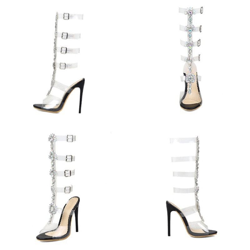 Peep Toe Lace-Up Sexy Rhinestone Sandals