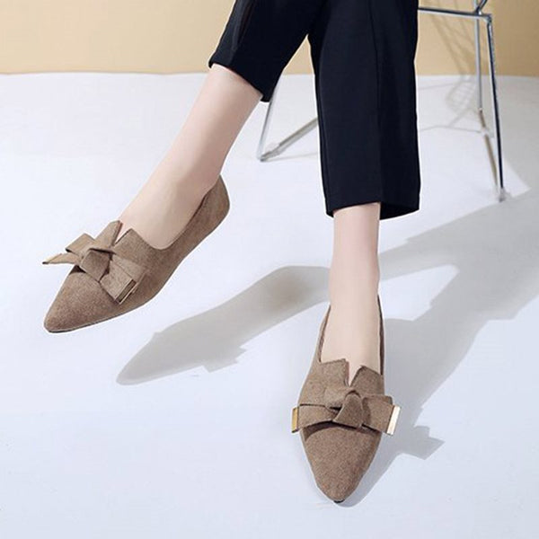 Bow Block Heel Pointed Toe Slip-On Plain Casual Thin Shoes