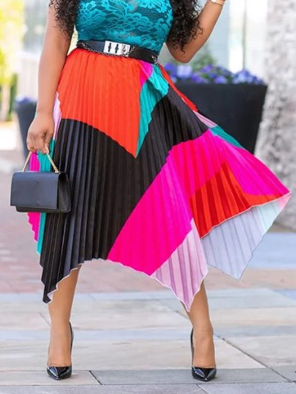 Pleated Patchwork Color Block High Waist Skirt