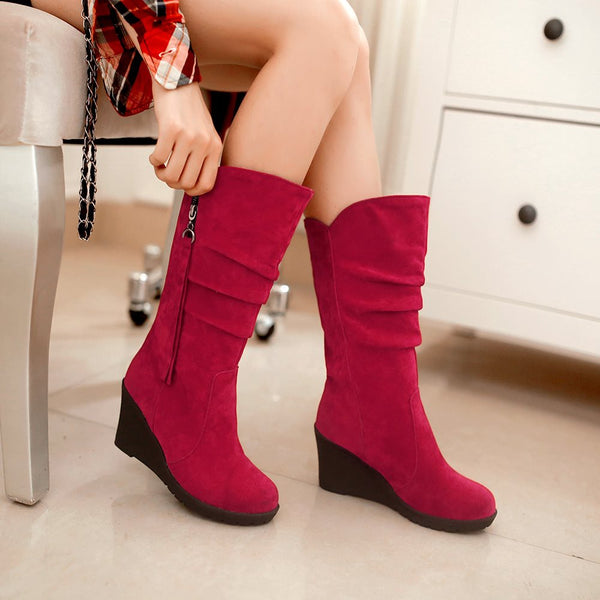 Wedge Heel Round Toe Side Zipper Plain PU Casual Boots