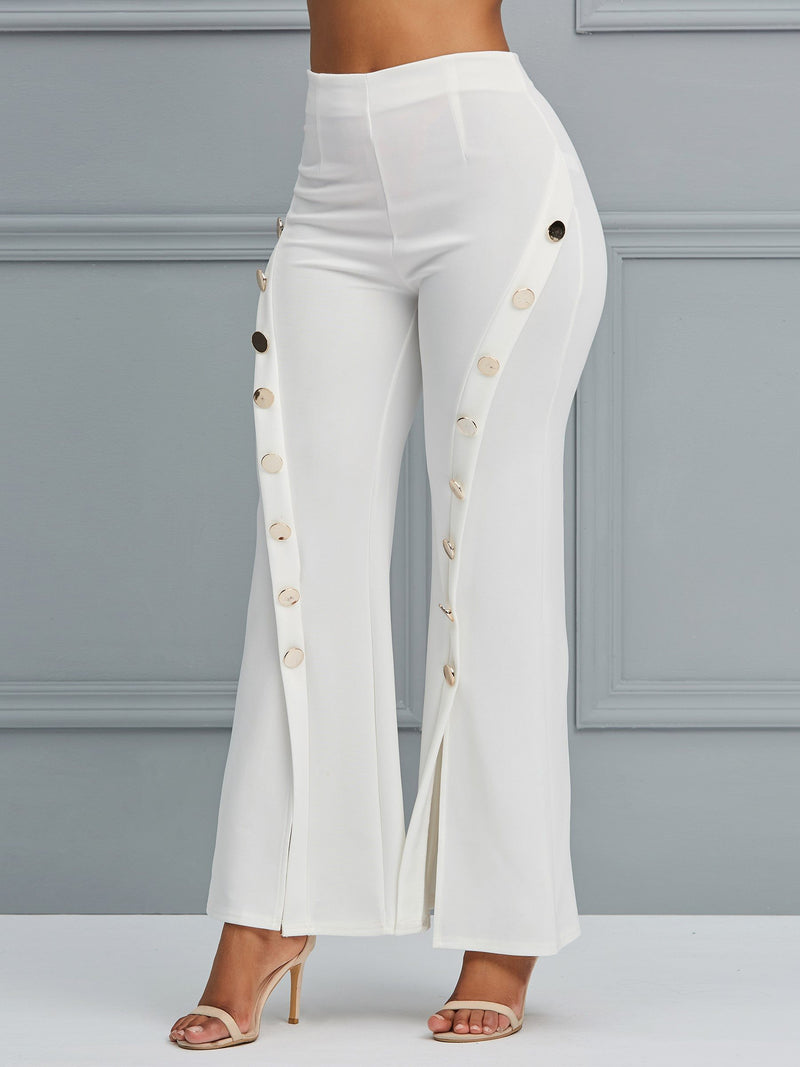 Skinny Plain Split Wide Legs High Waist Casual Pants
