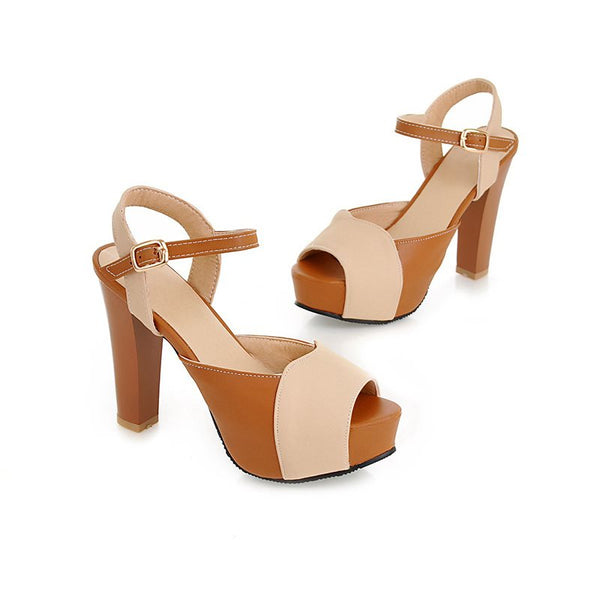 Buckle Open Toe Chunky Heel Ankle Strap Color Block Low-Cut Upper Sandals