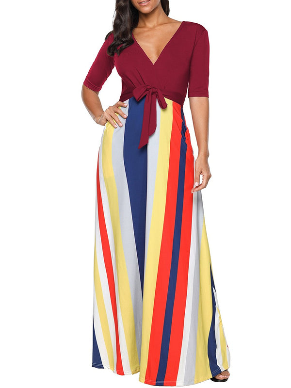 Floor-Length V-Neck Patchwork Pullover Trumpet Dress