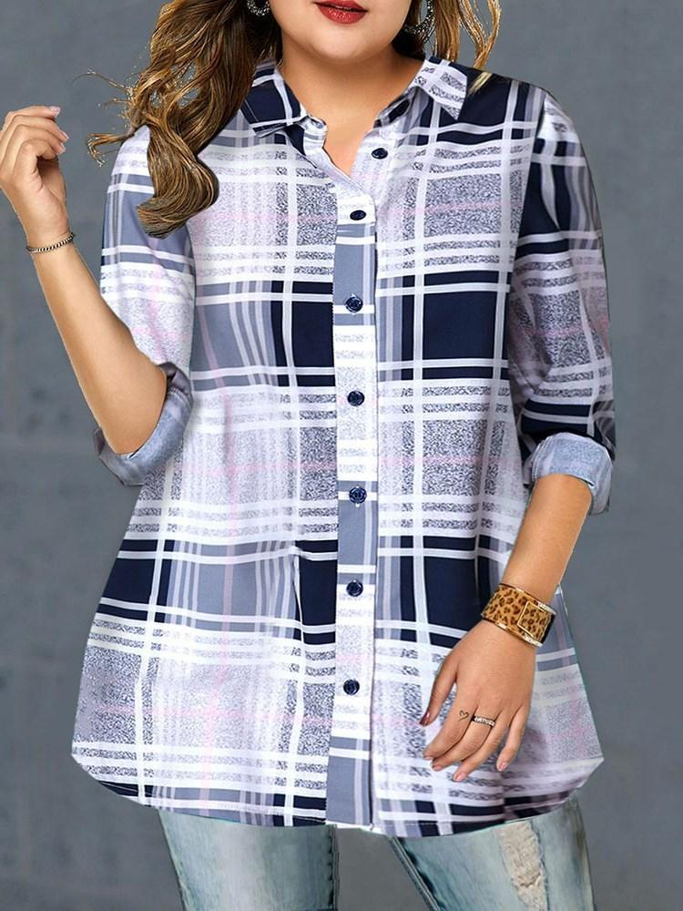 Regular Plaid Lapel Long Sleeve Mid-Length Blouse