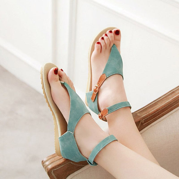 Buckle Flat With Thong Hollow Patchwork Sandals