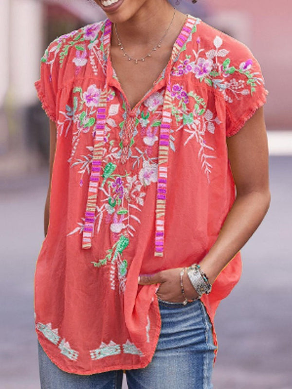 Short Sleeve V-Neck Floral Casual Loose T-Shirt