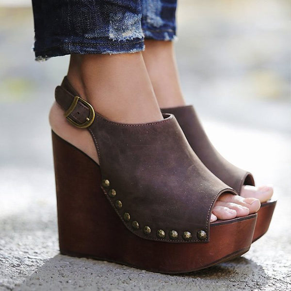Buckle Strappy Open Toe Wedge Heel Plain Rivet Sandals
