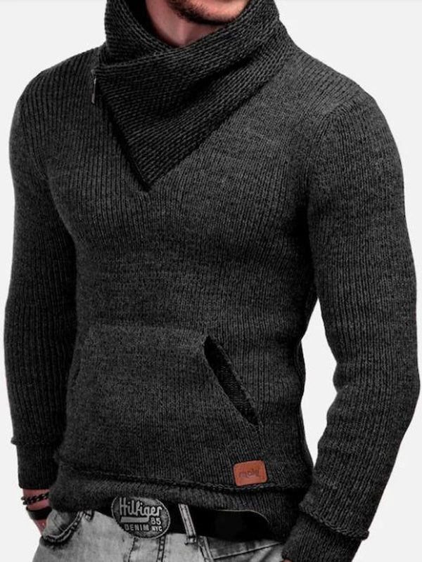 Pocket Color Block Standard Winter Slim Sweater