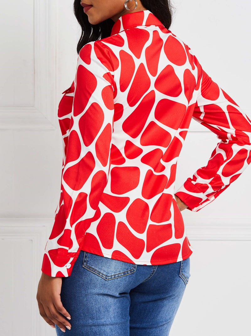 Print Color Block Lapel Long Sleeve Standard Blouse