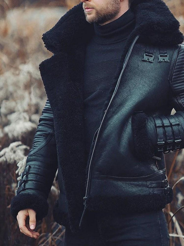 Standard Lapel Plain Winter Casual Leather Jacket