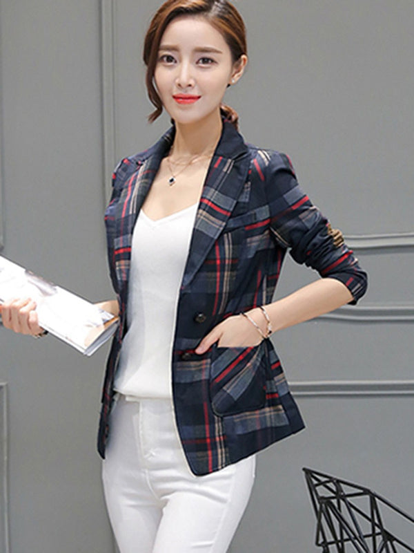 Houndstooth Single-Breasted Notched Lapel Standard Spring Casual Blazer