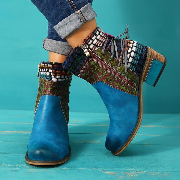 Patchwork Chunky Heel Round Toe Side Zipper Western Casual Boots