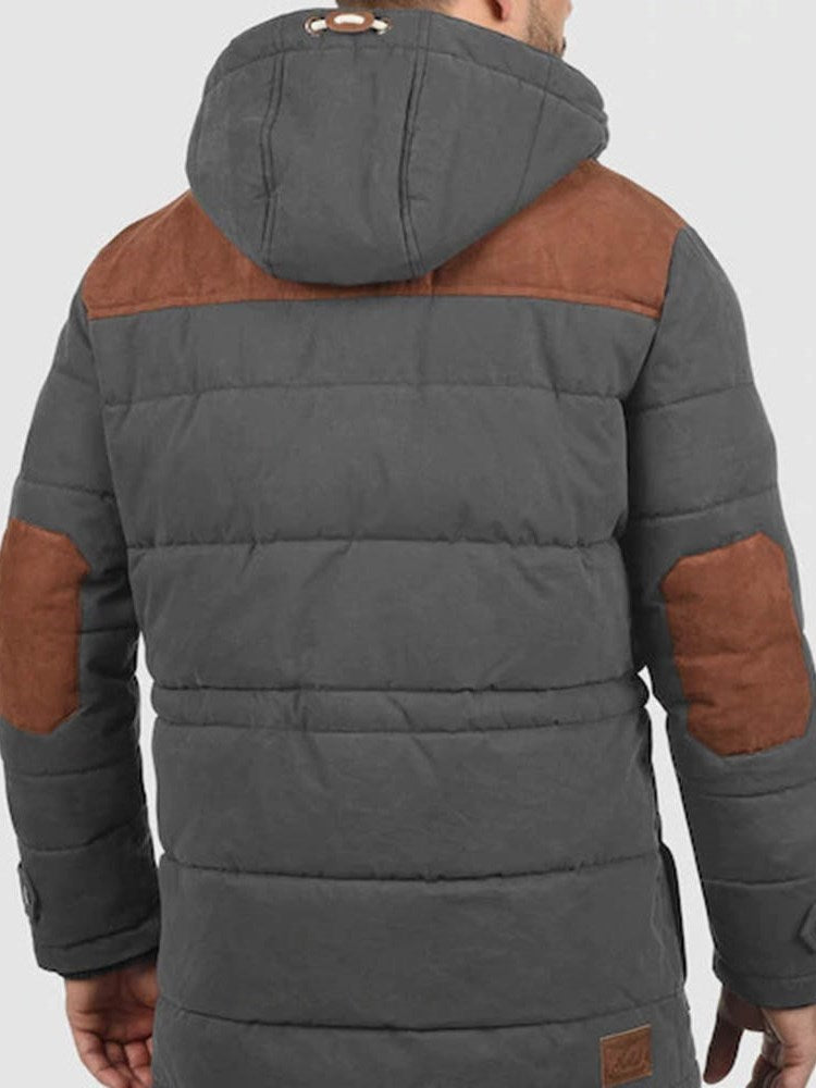 Hooded Patchwork Mid-Length Casual Down Jacket