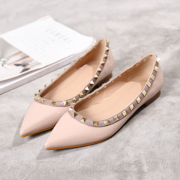 Slip-On Pointed Toe Block Heel Rivet Flat Heel Low-Cut Upper Thin Shoes