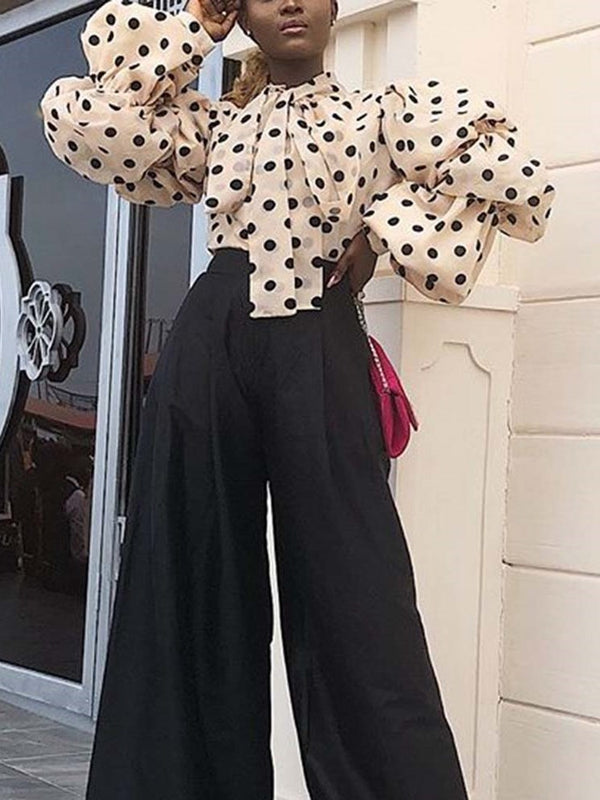 Print Polka Dots Standard Long Sleeve Blouse