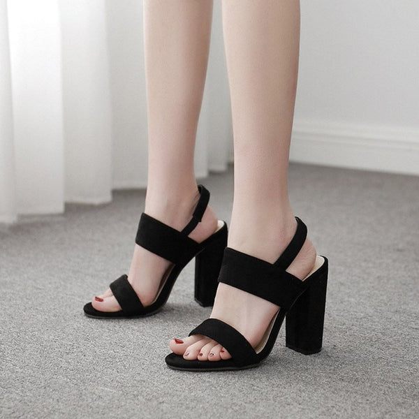 Buckle Open Toe Chunky Heel Strappy Plain Low-Cut Upper Sandals