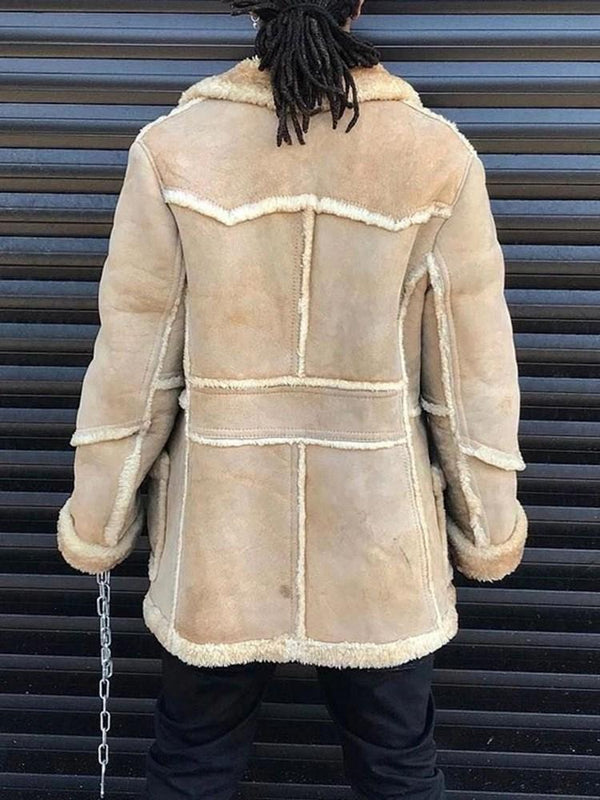 Mid-Length Patchwork Casual Single-Breasted Coat