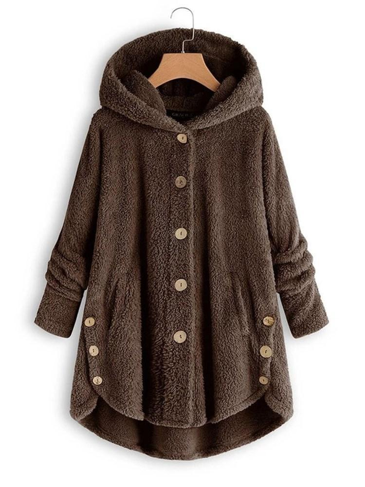 Single-Breasted Regular Loose Mid-Length Hooded Overcoat