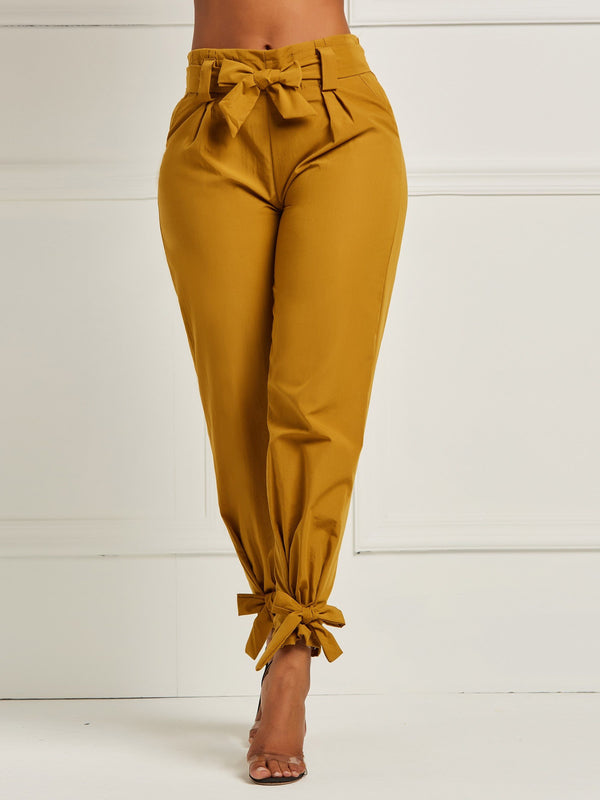Slim Plain Bowknot Full Length Pencil Pants Casual Pants