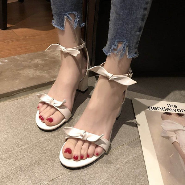 Chunky Heel Line-Style Buckle Heel Covering Open Toe Casual Plain Sandals