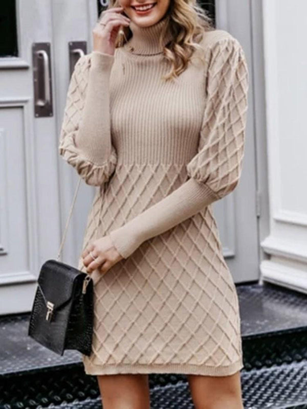 Above Knee Long Sleeve Turtleneck Bodycon Pullover Dress