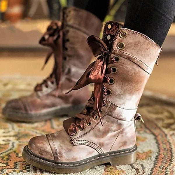 Lace-Up Front Plain Block Heel Round Toe Platform Casual Boots