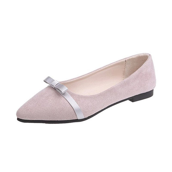 Pointed Toe Slip-On Bow Block Heel Low-Cut Upper 1.5cm Thin Shoes